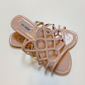 Cape Robbin Pink Patent Caged Slide Sandals 7.5